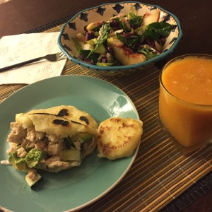 Arepas, a yummy slaw, accompanied by a batido and great conversation; a recipe for a super fun Friday evening!